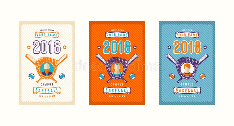 Ensemble de design de carte de base-ball illustration de vecteur