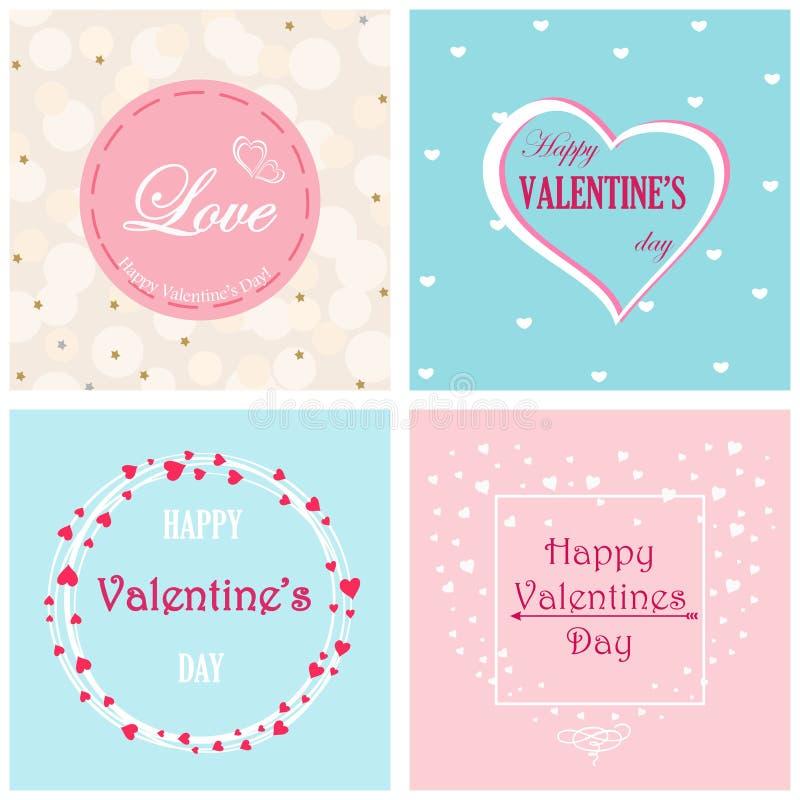 Ensemble de design de carte de jour du ` s de Valentine de 4 cartes postales avec les fleurs roses et bleues illustration libre de droits