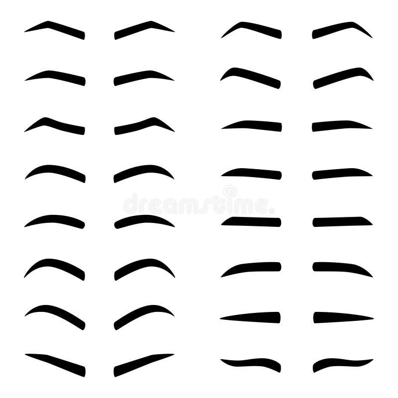 Ensemble de designes des sourcils, illustration de vecteur illustration libre de droits