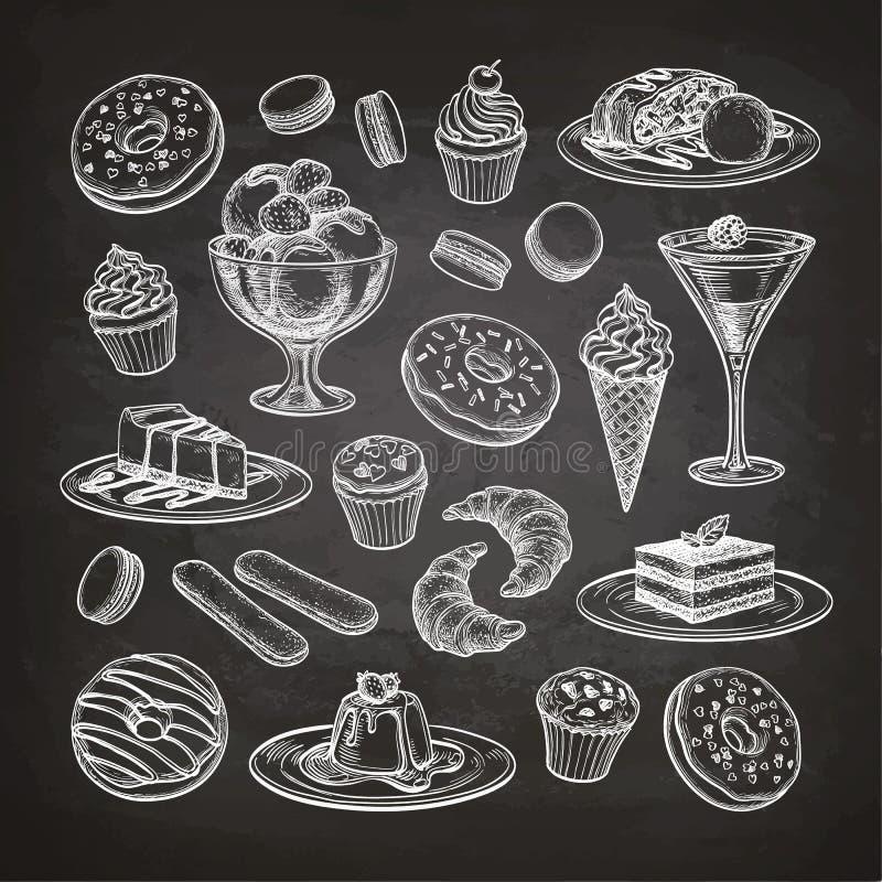Ensemble de dessert sur le tableau illustration stock