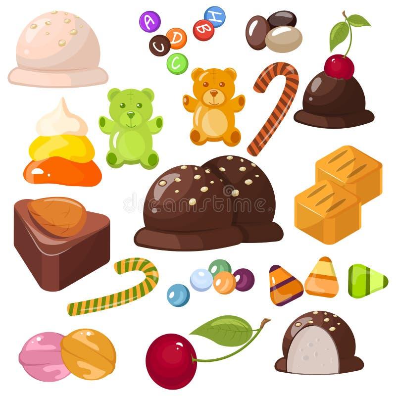 Ensemble de desserts doux populaires supérieurs pour Halloween, Hanoucca, Noël Barres de chocolat, sucreries et toute autre nourr illustration libre de droits