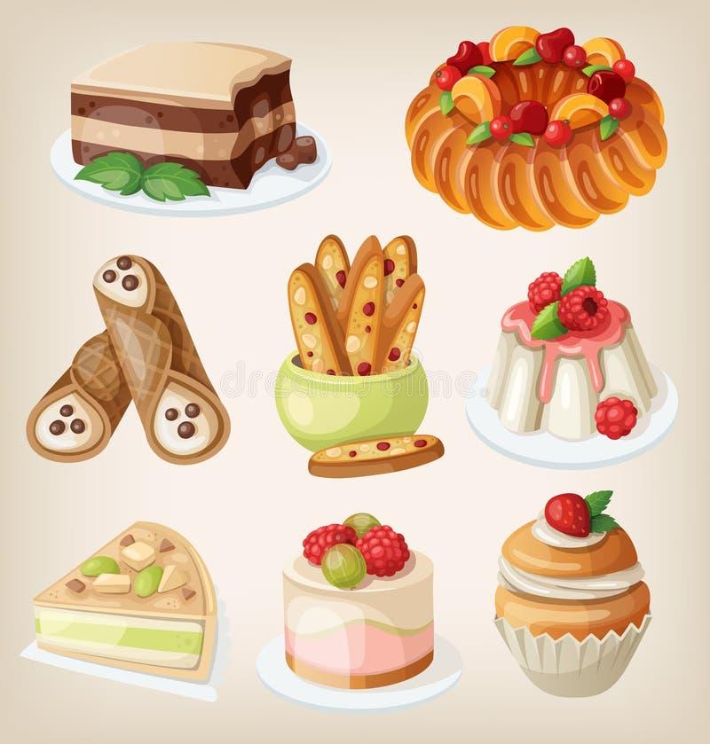 Ensemble de desserts italiens illustration de vecteur