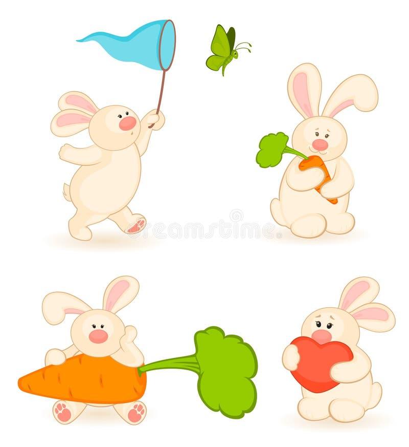 ensemble de dessin animé peu de lapin de jouet illustration libre de droits