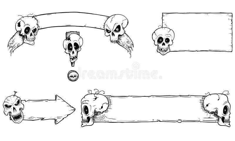 Ensemble de dessin de main de cadres de Halloween avec des crânes illustration libre de droits