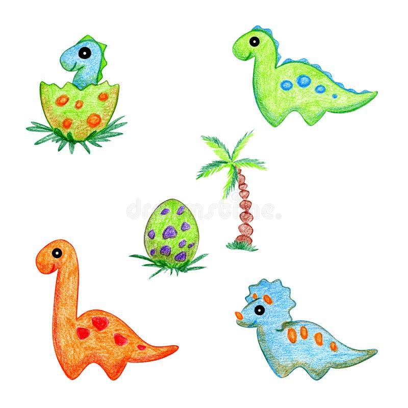 Ensemble de dessin de main de bande dessinée de dinosaures illustration stock