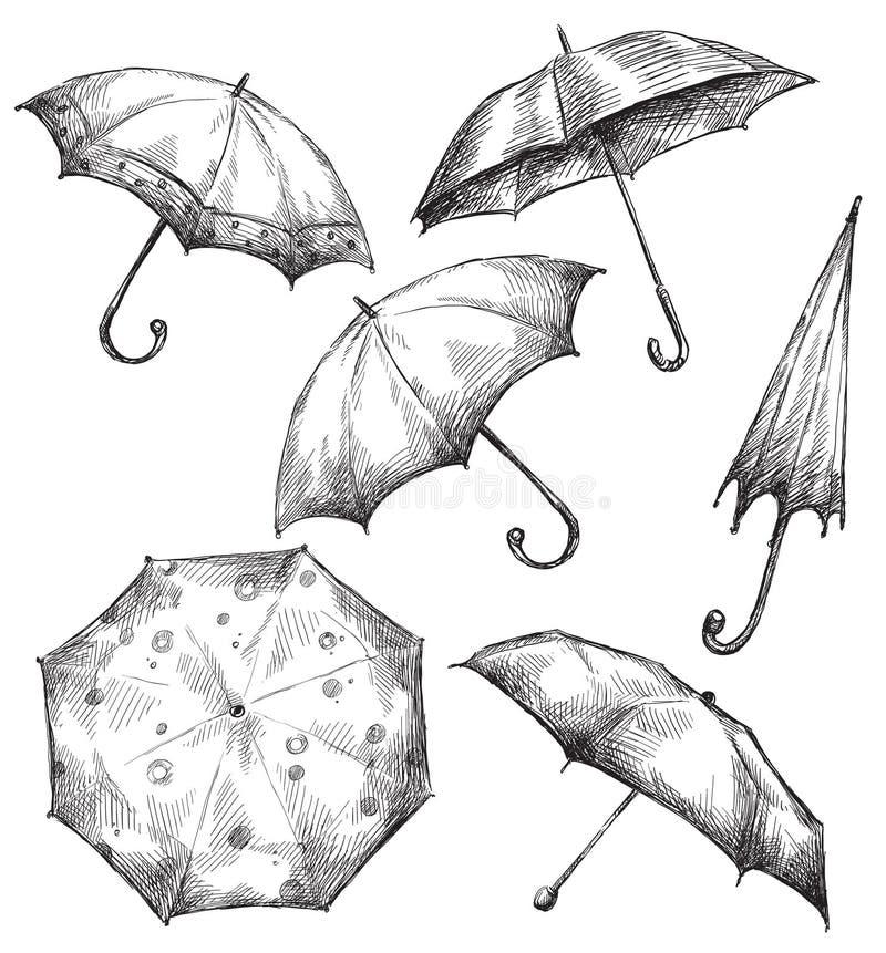 Ensemble de dessins de parapluie, tiré par la main illustration stock