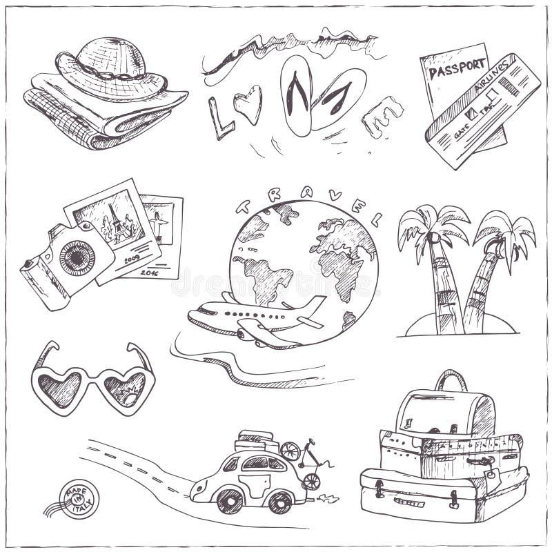Ensemble de dessins de voyage croquis main-dessin illustration de vecteur