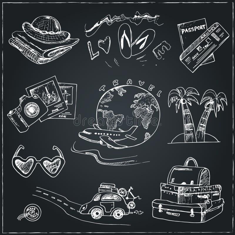 Ensemble de dessins de voyage croquis main-dessin illustration libre de droits