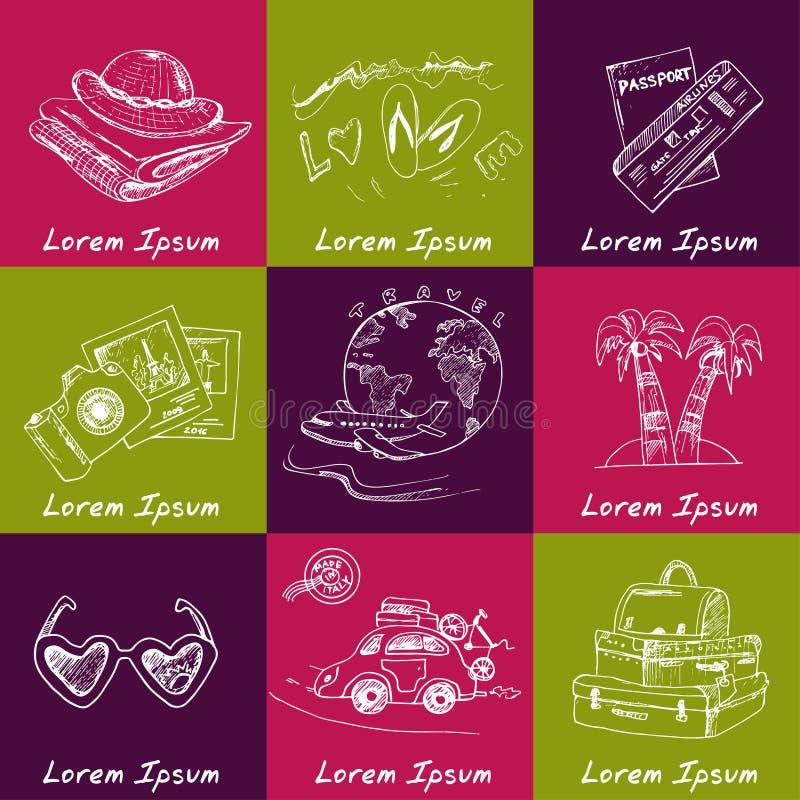 Ensemble de dessins de voyage croquis main-dessin illustration stock
