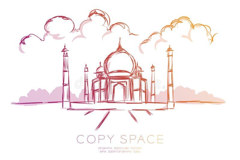 Ensemble de destination de point de repère de voyage, illustration violette orange de gradient de conception de l'avant-projet de illustration de vecteur