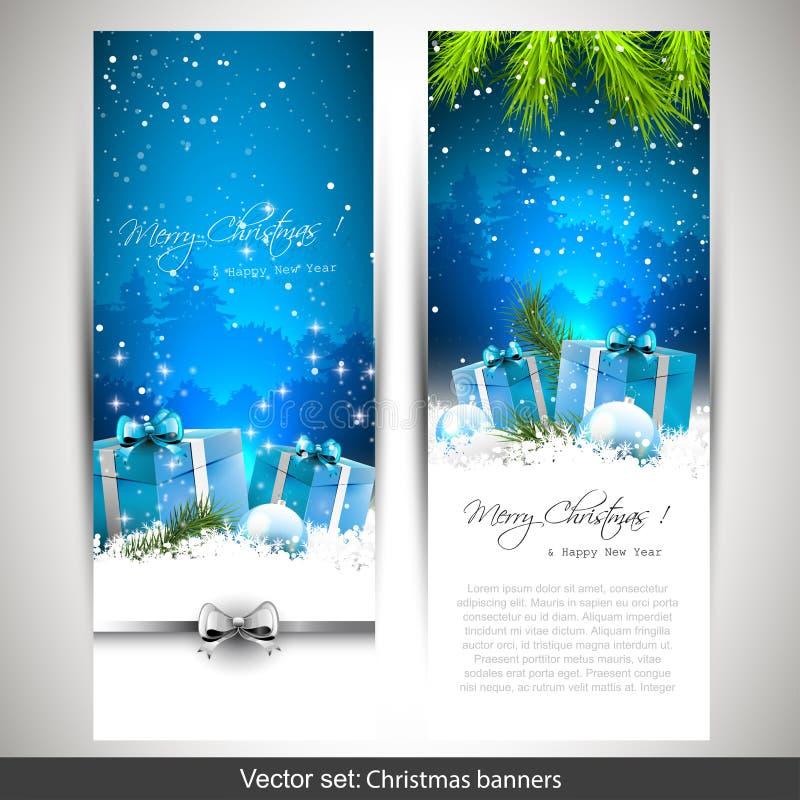Ensemble de deux bannières bleues de Noël illustration libre de droits