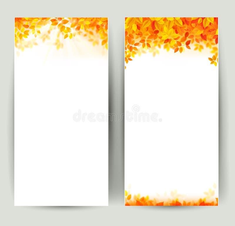 Ensemble de deux bannières de nature avec des feuilles d'automne illustration stock