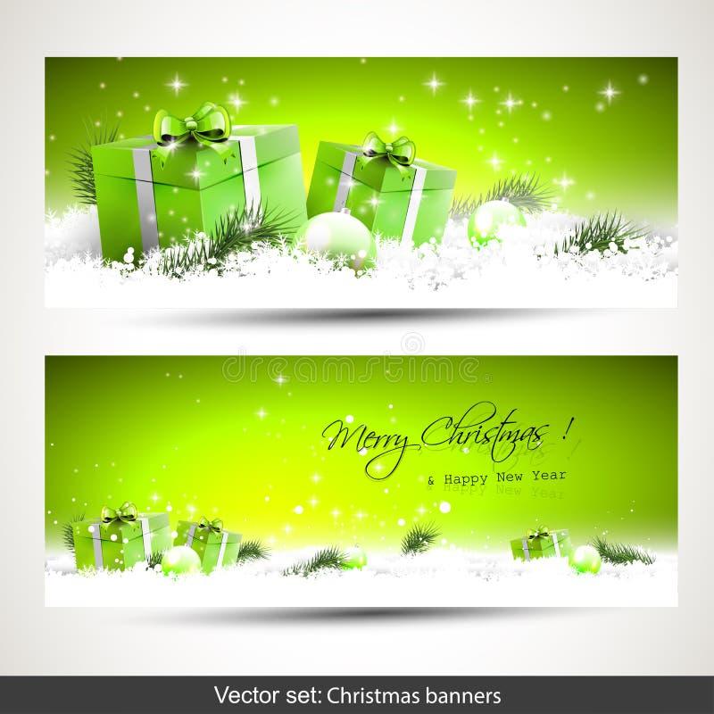 Ensemble de deux bannières vertes de Noël illustration de vecteur