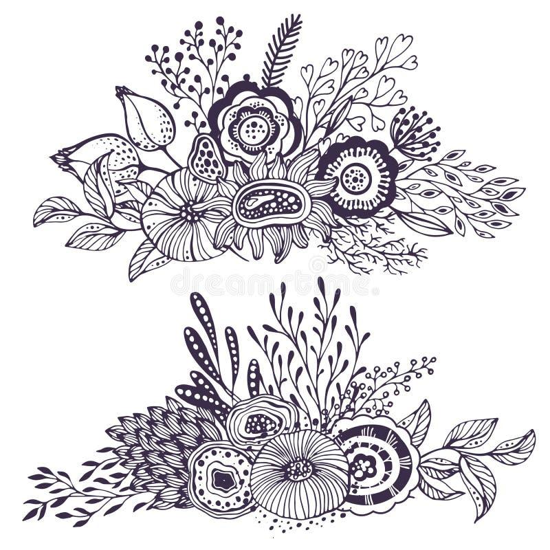 Ensemble de deux beaux bouquets d'imagination avec les fleurs tirées par la main, usines, branches illustration de vecteur