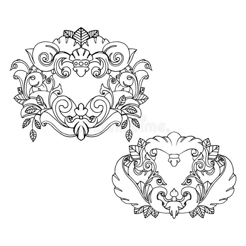 ensemble de deux beaux cadres de tatouage illustration de. Black Bedroom Furniture Sets. Home Design Ideas