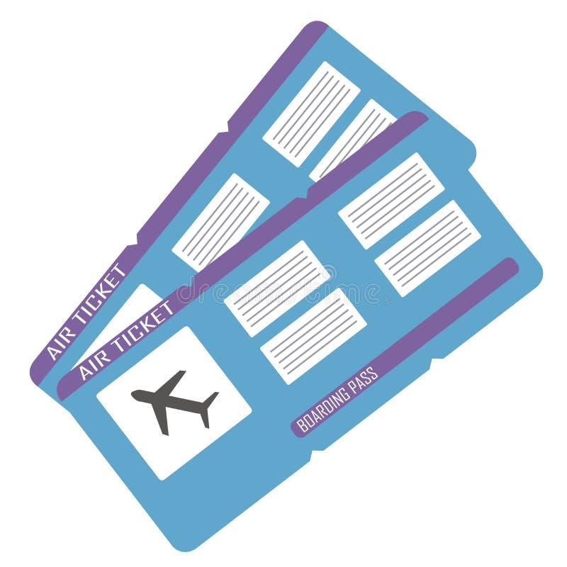 Ensemble de deux billets rouges de carte d'embarquement au-dessus du fond blanc Vecteur illustration libre de droits