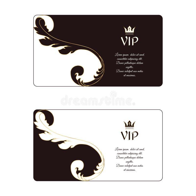 Ensemble de deux cartes de visite professionnelle de visite horizontales élégantes dans des couleurs blanches et brunes victorien illustration stock