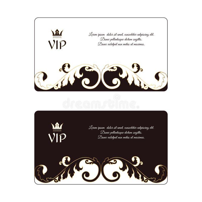 Ensemble de deux cartes de visite professionnelle de visite horizontales élégantes dans le style victorien blanc et brun En outre illustration de vecteur