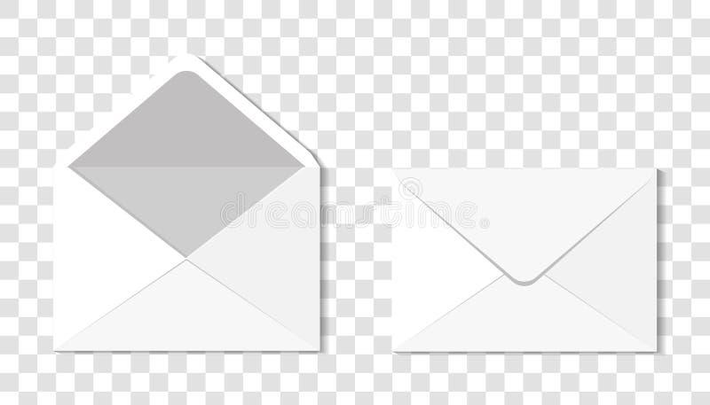 Ensemble de deux enveloppes réalistes en blanc pour des documents Une enveloppe illustration de vecteur