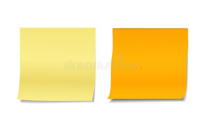 Ensemble de deux illustrations réalistes colorées de vecteur des notes collantes vides de courrier illustration libre de droits