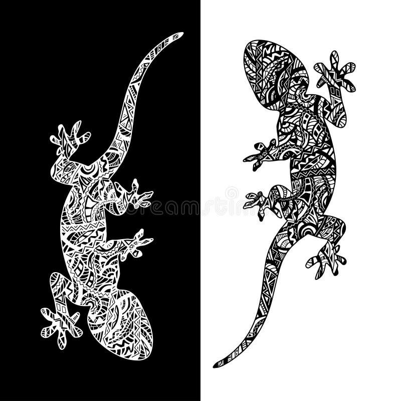 Ensemble de deux lézards illustration de vecteur