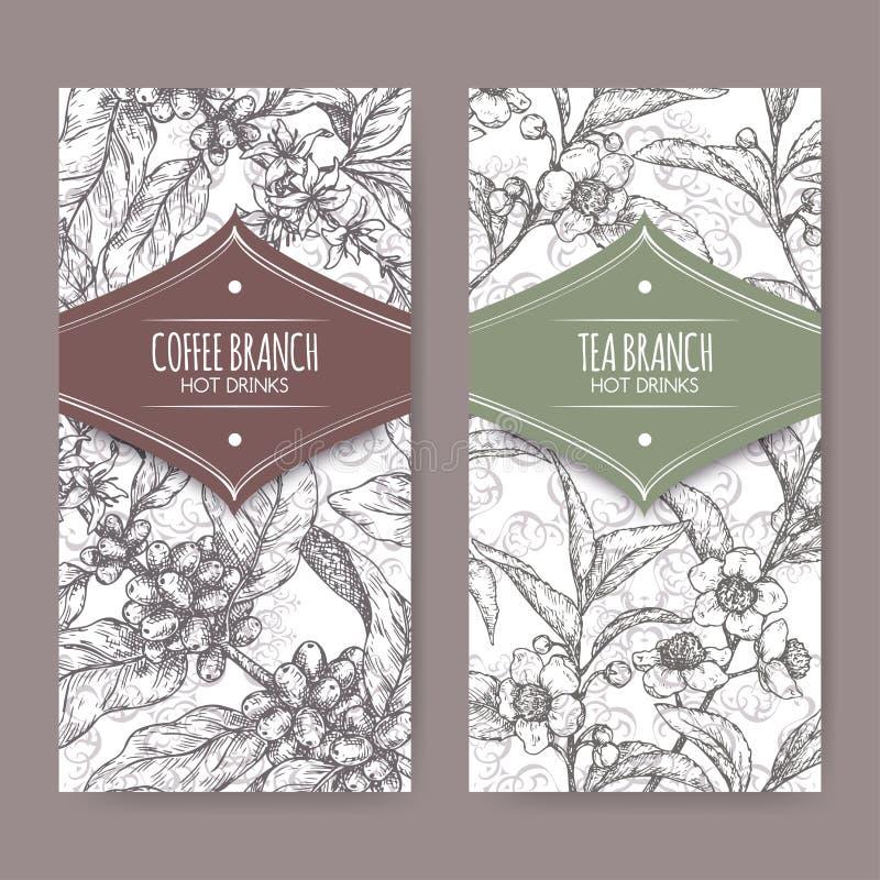 Ensemble de deux labels avec le croquis de branche de thé et de café Collection chaude de boissons illustration de vecteur