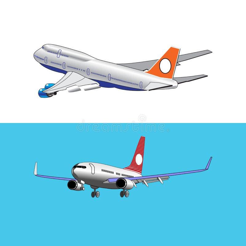 Ensemble de deux que l'avion débarque et des vitesses de décollage photo libre de droits