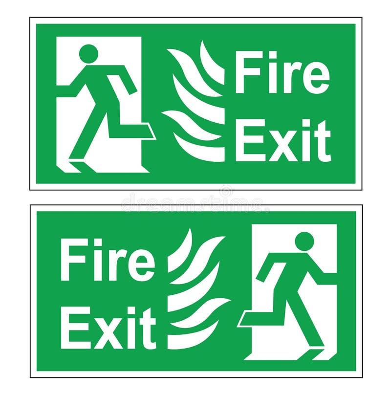 Ensemble de deux signes verts d'évacuation de vecteur Droite de sortie de secours et parti image stock