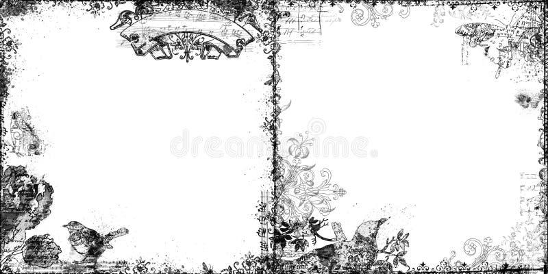 Ensemble de deux trames décoratives florales et d'oiseau illustration de vecteur