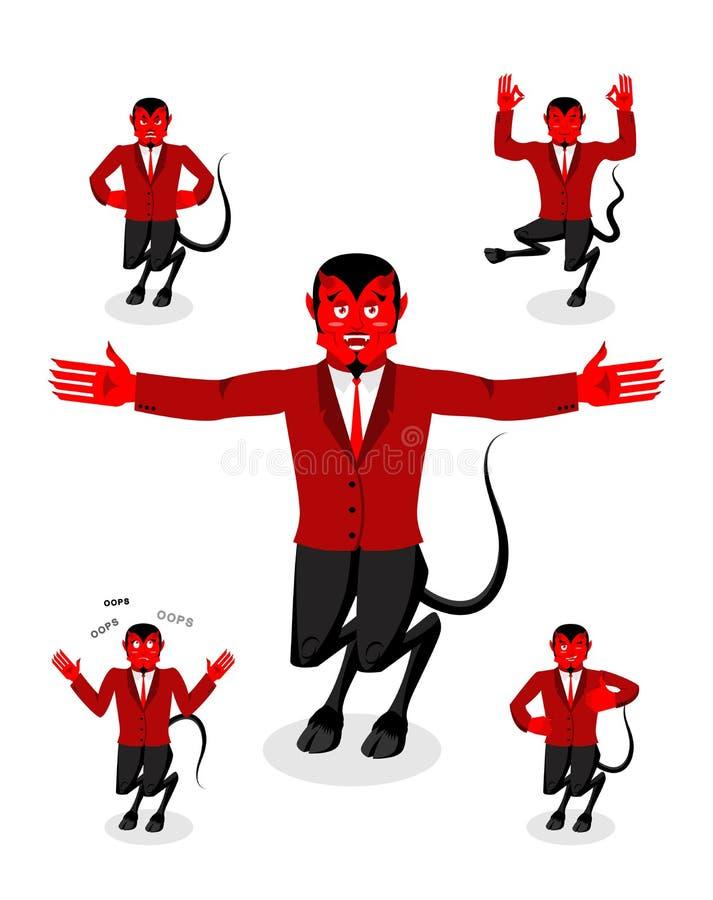 Ensemble de diable de poses Ensemble de Satan de mouvements Démon à cornes exprès illustration de vecteur