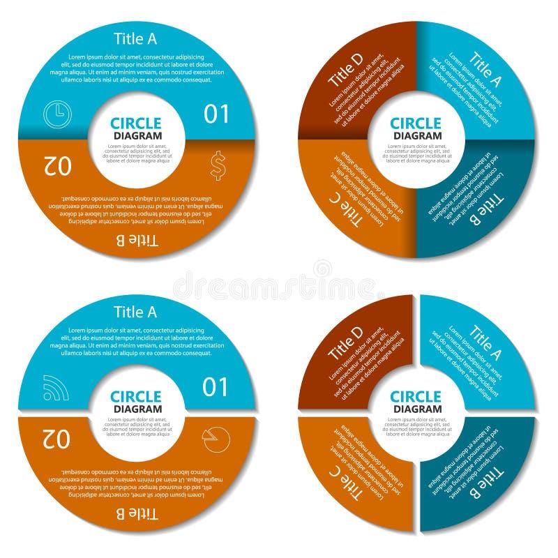 Ensemble de diagramme de cercle Concept d'affaires avec deux et quatre options Infographic rond illustration de vecteur