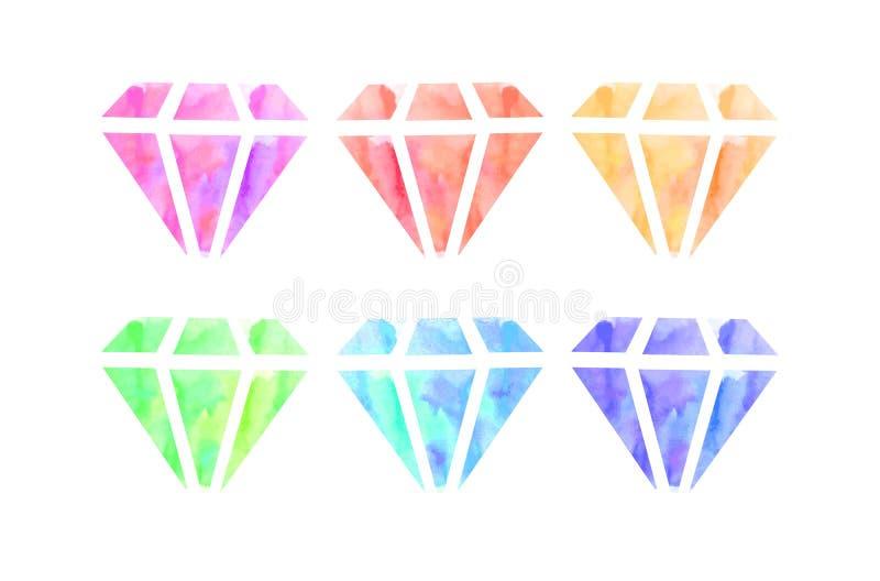 Ensemble de diamants d'aquarelle illustration de vecteur