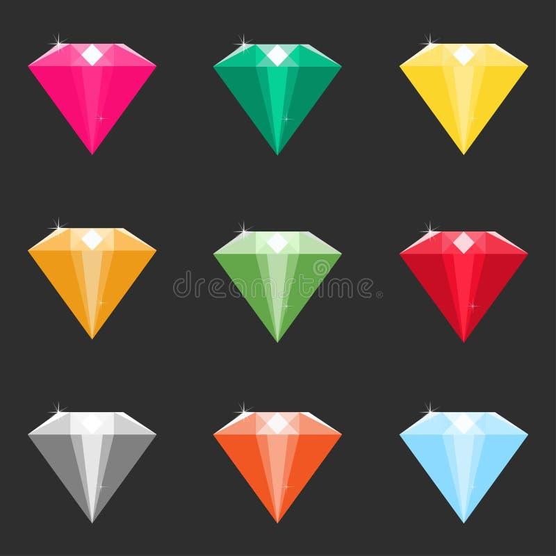 Ensemble de diamants de bande dessinée, cristaux dans différentes couleurs illustration stock