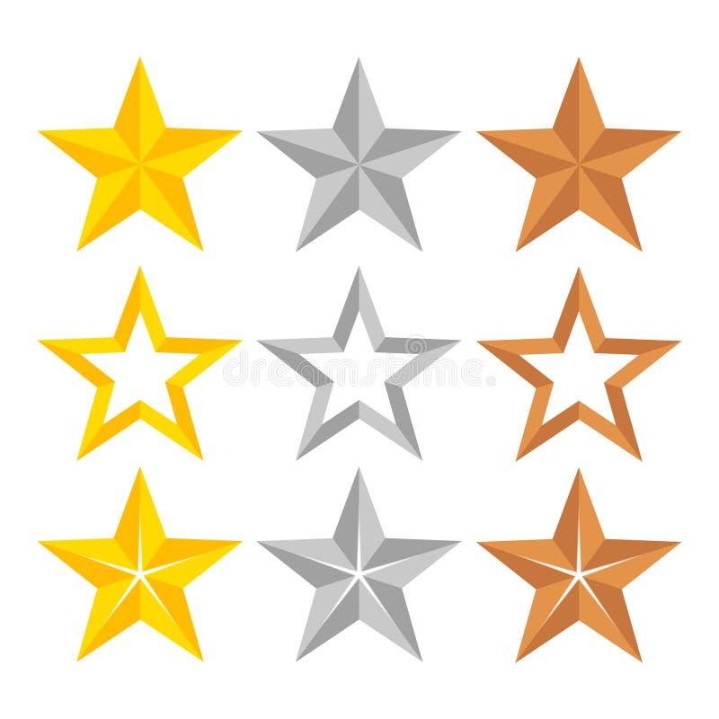 Ensemble de différentes étoiles de rang d'or, d'argent et de bronze, VE courant illustration de vecteur