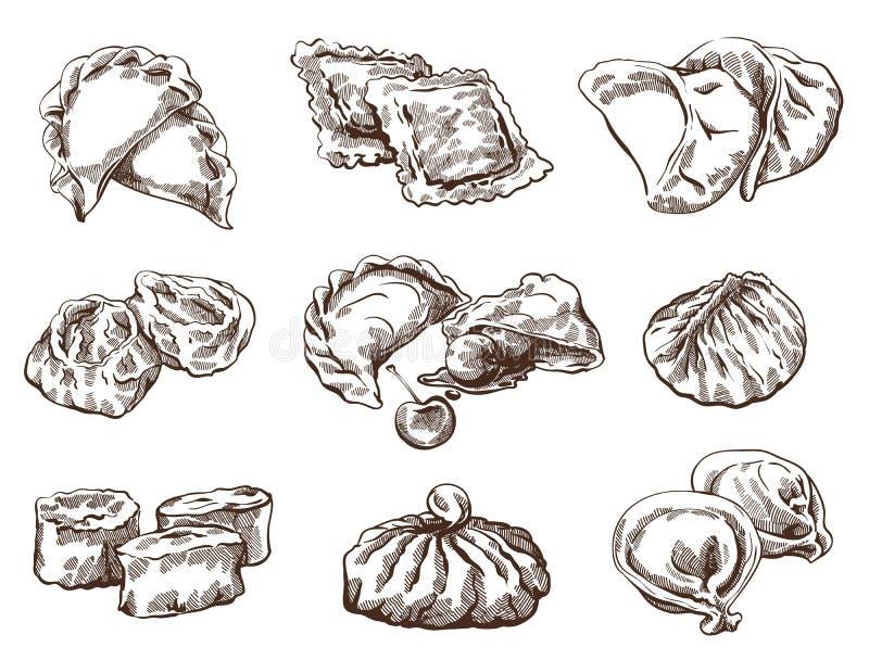 Ensemble de différentes boulettes illustration stock