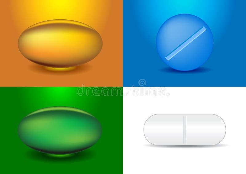 Ensemble de différentes capsules et médecines illustration stock