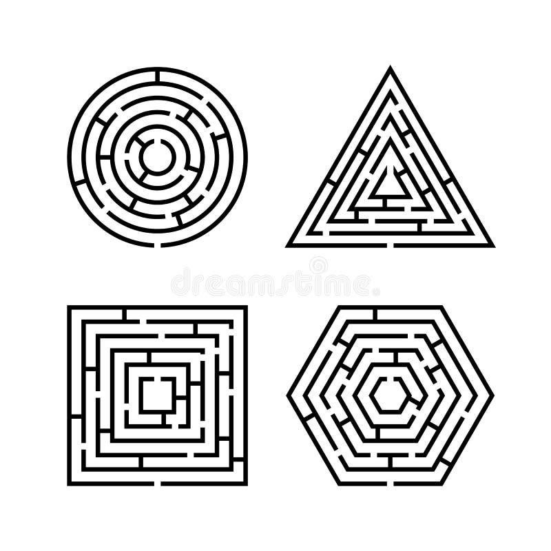 Ensemble de différentes formes de labyrinthe pour le jeu illustration libre de droits