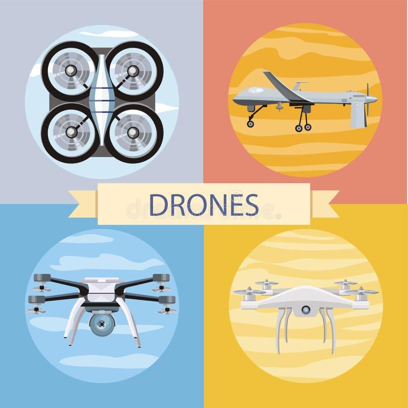 Ensemble de différentes icônes de quadrocopters illustration de vecteur