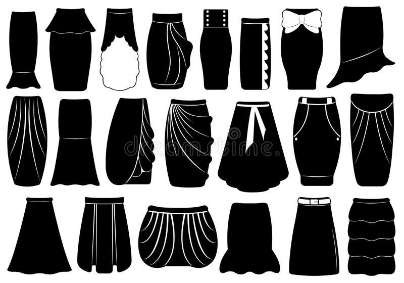 Ensemble de différentes jupes illustration libre de droits