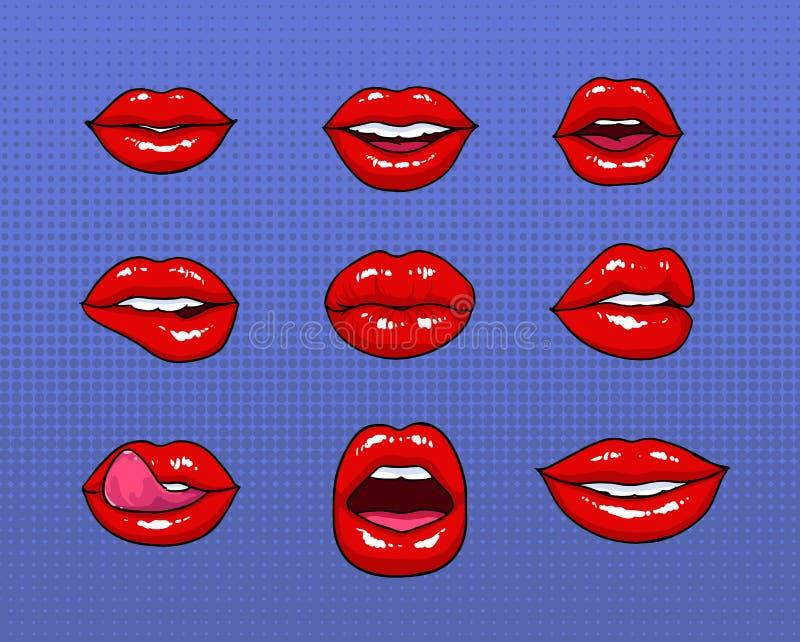 Ensemble de différentes lèvres rouges femelles La mode raccorde des éléments, collection d'insignes Les bandes dessinées disent d illustration libre de droits