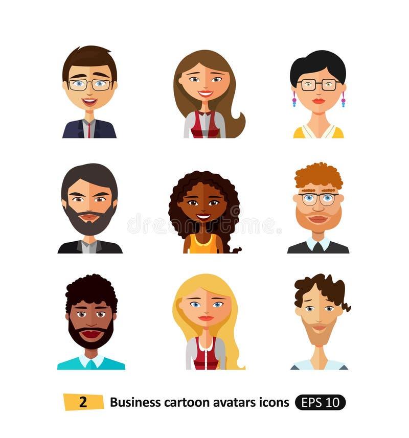 Ensemble de différentes nationalités, de vêtements et de coiffures d'avatars divers d'affaires illustration de vecteur