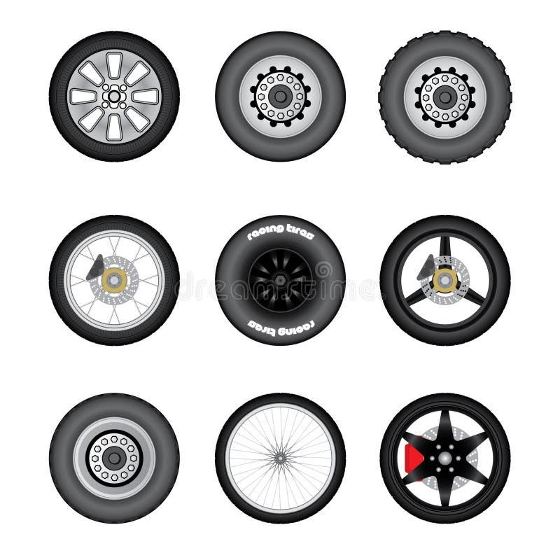 Ensemble de différentes roues de transport illustration de vecteur
