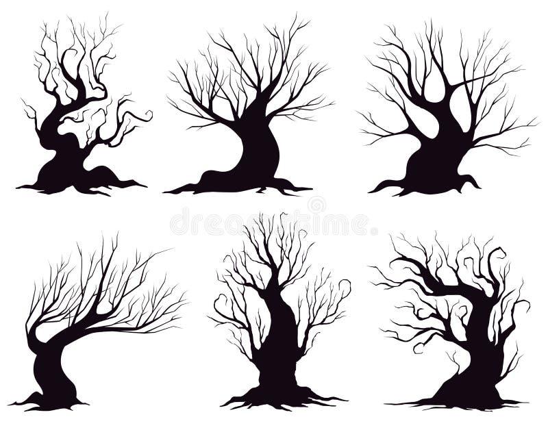 Ensemble de différentes silhouettes des arbres d'imagination d'isolement sur le fond blanc illustration de vecteur