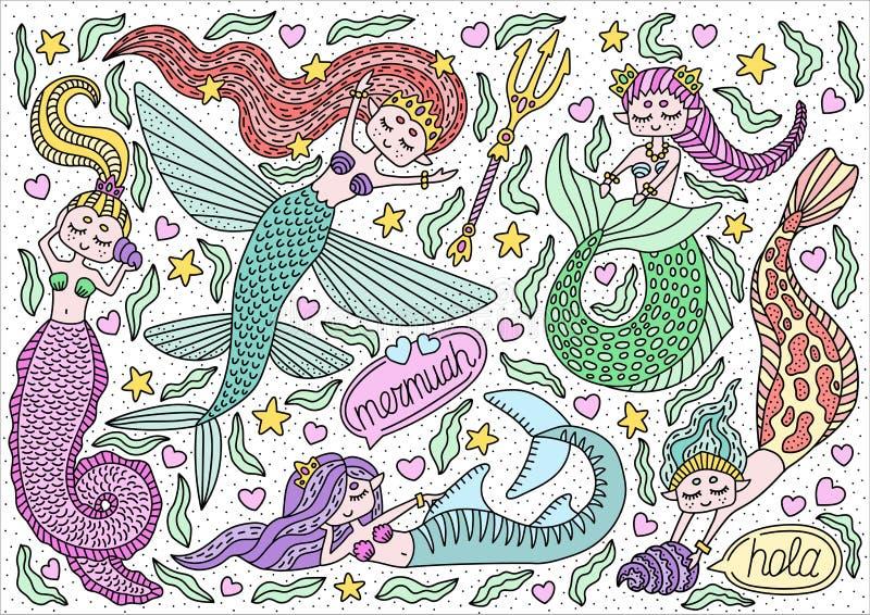 Ensemble de différentes sirènes Caractères de dessin mignons Griffonnage puéril tiré par la main Illustration de vecteur illustration stock