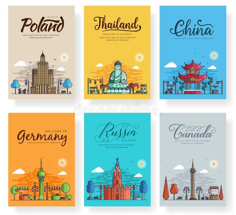 Ensemble de différentes villes d'ensemble pour des destinations de voyage Ligne mince de bannière de points de repère d'insecte,  illustration stock