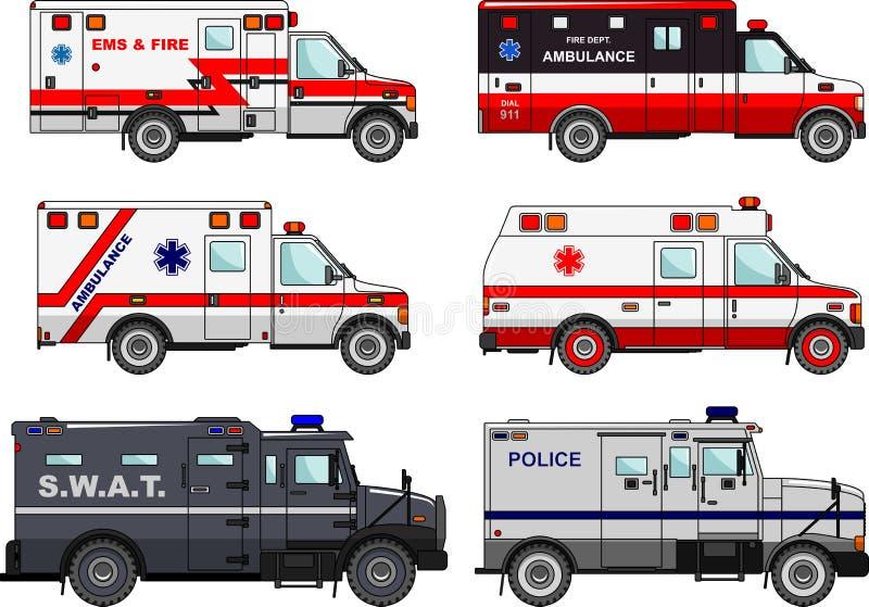 Ensemble de différentes voitures de camion de pompiers, de police et d'ambulance dans le style plat sur le fond blanc différences illustration libre de droits