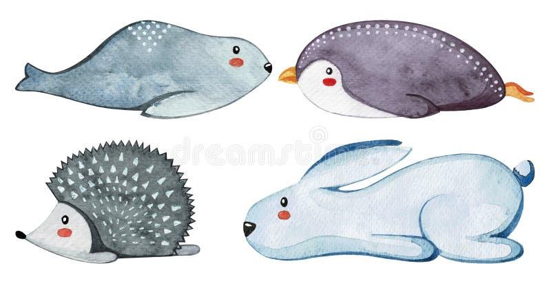Ensemble de différents animaux mignons Animaux paresseux watercolor illustration de vecteur