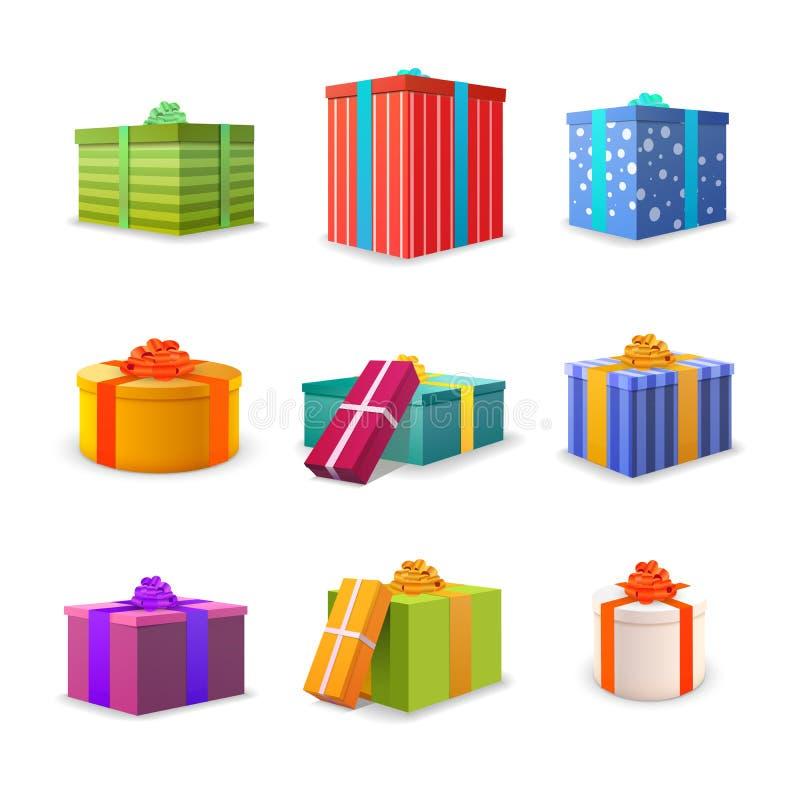 Ensemble de différents boîte-cadeau lumineux colorés avec des bandes et des arcs illustration libre de droits