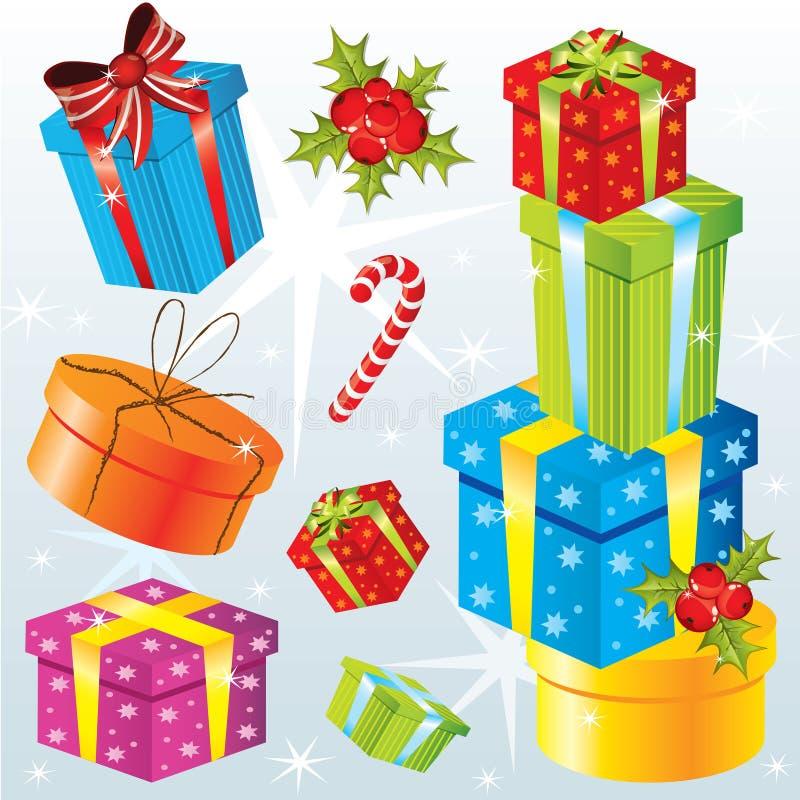 Ensemble de différents cadeaux de Noël illustration de vecteur