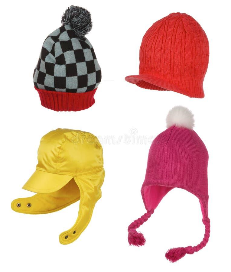 Ensemble de différents chapeaux de l'hiver d'isolement sur le blanc images libres de droits